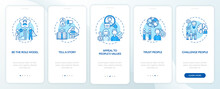 Tips Of How To Motivate People Onboarding Mobile App Page Screen With Concepts. Telling Motivation Story Walkthrough 5 Steps Graphic Instructions. UI Vector Template With RGB Color Illustrations