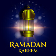 Design Of Banners, Backgrounds, Social Media, Websites With Lantern Lights Ornaments On The Theme Of Ramadan And Eid