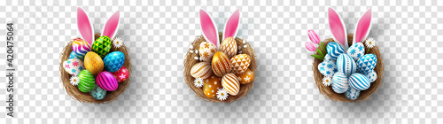 Easter eggs and Rabbit ears in the nest on transparent background.Greetings and presents for Easter day in flat lay styling.Promotion and shopping template for Easter