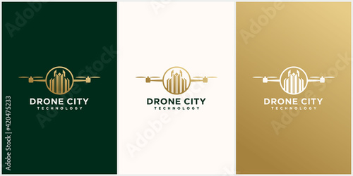 Canvas Drone city logo template design. drone image and city in gold