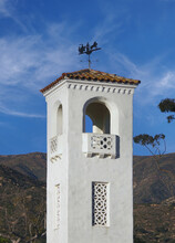 View Of The Tower Of The Old Montecito Firehouse Built In 1931 By Architect Alexander Bertrand Harmer In Front Of The Fire Scorched Santa Ynez Mountains