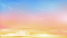 Colourful Cloudy Sky With Fluffy Clouds With Pastel Tone In Blue, Pink And Orange In Morning,Fantasy Magical Sunset Sky On Spring Or Summer, Vector Illustration Sweet Background For Four Season Banner