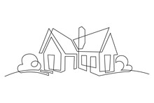 Abstract Country House In Continuous Line Art Drawing Style. Family Home Minimalist Black Linear Design Isolated On White Background. Vector Illustration