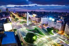 The El Obelisko In Buenos Aires At Night
