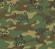 Abstract Camouflage Vector Pattern Seamless Print. Military Pattern