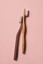 Eco / Environmentally Friendly Products - Toothbrushes On Pink Background