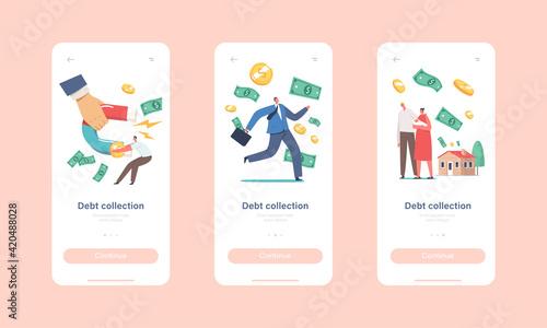 Obraz na plátně Debt Collection Mobile App Page Onboard Screen Template