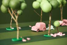 Little Pink Car. Machine In Nature. Miniature Car