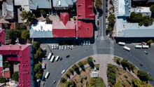 Drone Shot Of A Roundabout In The Historical Part Of A City
