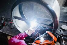 Industrial Indoors Workshop With Protective Equipment.