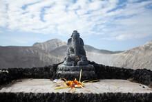 Statue Elephant Ganesha God Religion Offering Asia Sky Clouds