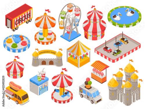 Valokuvatapetti Isometric Amusement Park Icons