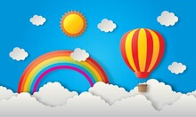 Paper Art Travel Balloon Flying With Sun, Rainbow And Cloud Background. Vector Illustration.