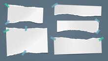 Set Of Torn White Note, Notebook Paper Pieces Stuck On Dark Blue Background. Vector Illustration