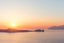 View At Sunset From Plaka, Milos In Greece