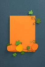 Thanksgiving Or Autumnal Holiday Background, Top View, Copy Space.