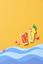 Two Tropical Fresh Juices On Sandy Beach