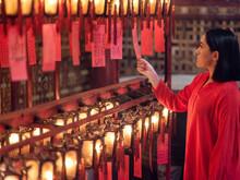 Prayer Lanterns In Man Mo Temple, Hong Kong