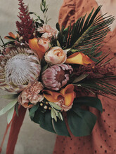 Wedding Bouquet With Many Different Flowers
