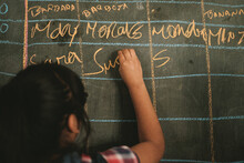 A Young Girl Writing On The Chalkboard