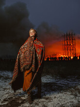 Girl At A Big Fire