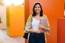 Stylish Latina Student On City Street