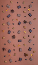 Food Pattern With Chocolate Coffee And Spices