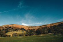 Hills Of Wales With Beautiful Blue Sky