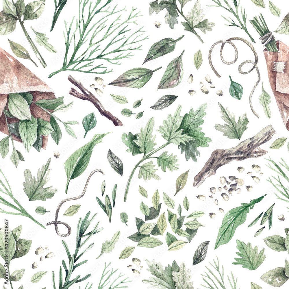 Fototapeta Watercolor seamless pattern with green garden herbs, roots and branches, dill, rosemary, mint, parsley, basil. Organic natural greens texture concept of health, natural cosmetics.