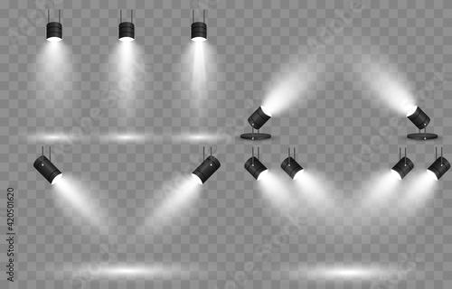 Fototapeta Vector set of light. Light source, studio lighting, walls, png. Spotlight lighting, spotlight PNG. Light beams, light effect. obraz