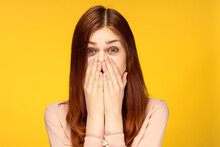 Emotional Attractive Woman Glamor Studio Fashion Yellow Background