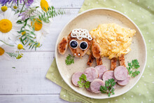 Scrambled Eggs With Toast And Sausage Look Like A Sheep