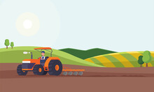 Tractor Plowing A Field For Planting Crops. Agriculture