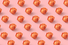 Pattern From Crumpled Orange Paper Balls.