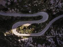 Curvy Road Going Through Mountains
