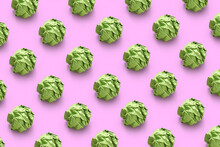 Horizontal Pattern From Green Paper Balls.