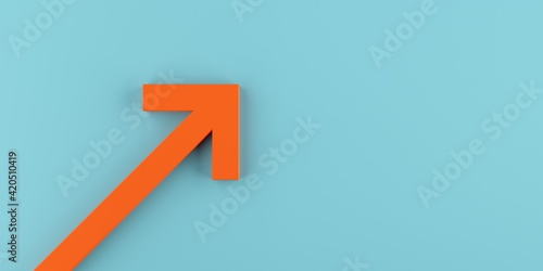 Orange arrow pointing up over blue background, success or growth concept