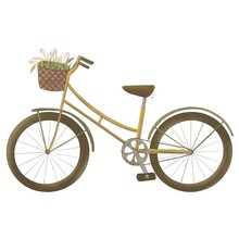 Cute Bike With A Basket And Tulips.