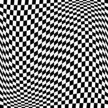 Race Flag Pattern. Wavy Vector Pattern. Black White Squares.
