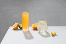 Glass Of Fresh Orange Juice With Fresh Fruits