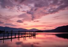 Blencathra And Derwent Water At Sunrise. Brandlehow, Lake District, Cumbria, UK.