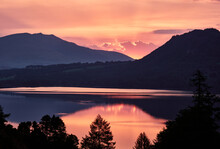 Blencathra And Derwent Water At Sunrise. Brandlehow, Lake District, Cumbria, UK.