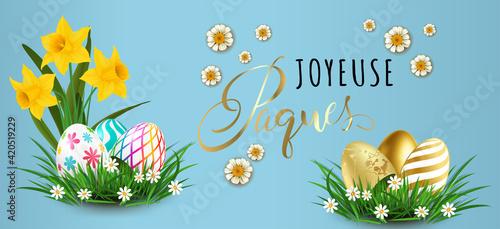 Photo carte ou bandeau sur Joyeuse pâques en noir et or avec des oeufs posés sur de l'