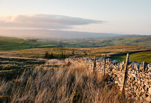 View To Kirkby Stephen At Sunset. Wharton Fell, Cumbria, UK.