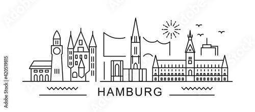 Fotografie, Tablou Hamburg minimal style City Outline Skyline with Typographic