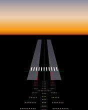 View From Plane To Landing Runway With Neon Light Signals / Descending For Landing On Dark Evening Time, Airport Landing, Voyage Feeling Vector Illustration