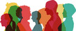 canvas print picture - Köpfe in bunten Farben als Bevölkerung Konzept