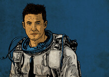 Astronaut On A Blue Background