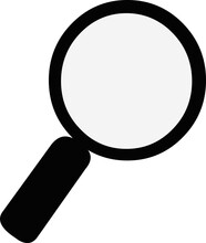 Vector Illustration Of Emoticon Of The Silhouette Of A Black Magnifying Glass With Transparency In The Lens