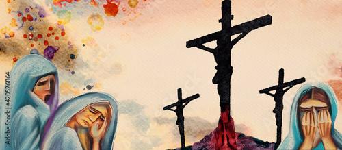 Fotografia, Obraz Crucifixion. Watercolor christian banner